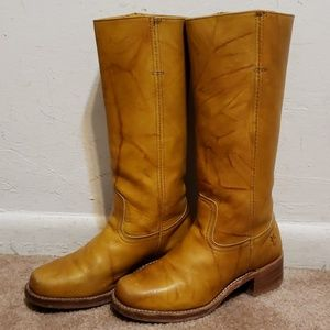 Frye Campus 14L VTG Heeled Boots Yellow Leather